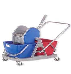 Double MOP Bucket Wringer Trolley